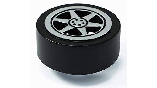 LGM-Beschlag Möbelknopf Wheel, Kinder, Auto, Rad, Kunststoff - schwarz, Kunststoff Metallfolieneffekt - silber glänzend, 65 mm x 39 mm x 65 mm, 45728