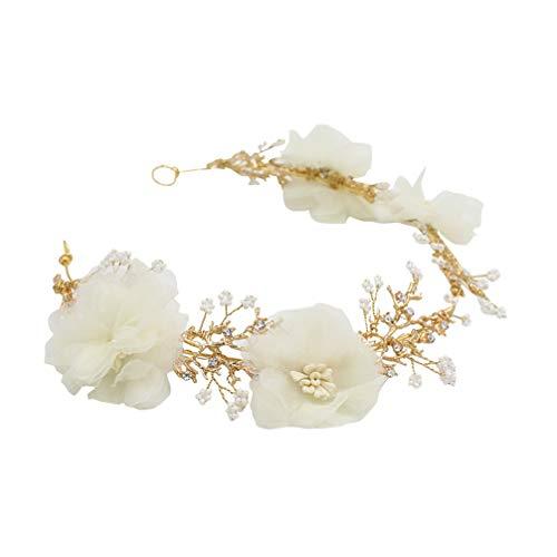 Minkissy Diadema Nupcial artesanía Flores de Gasa aleación con Cuentas Cierre de Pelo Diadema para el Pelo Tocado para Mujeres niñas Damas (Dorado)