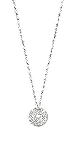 Esprit Damen-Kette mit Anhänger JW50056 Messing rhodiniert Zirkonia weiß Rundschliff 42 cm - ESNL03025A420