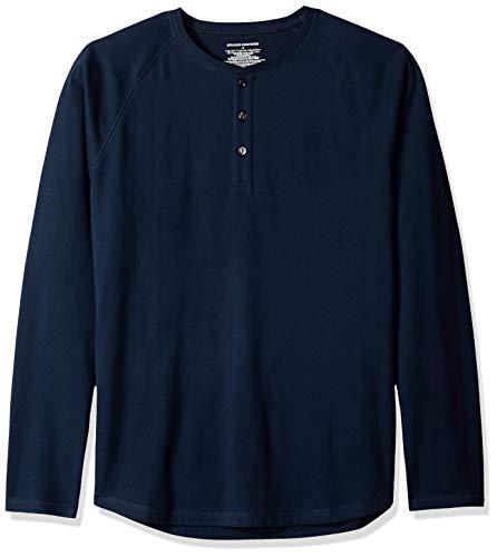 Amazon Essentials - Maglietta a maniche lunghe da uomo, vestibilità standard, stile Henley, Blu (Navy), US L (EU L)