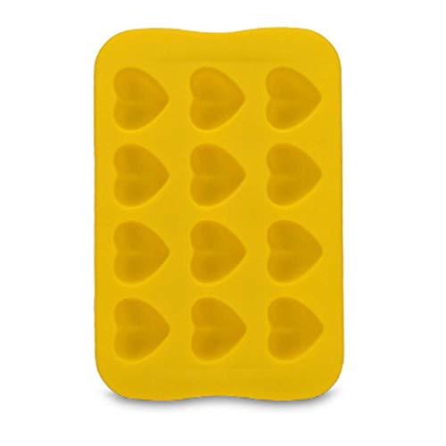CTOBB Kuchen-Form-Stern-Quadrat-Geleeform Küchenzubehör 12 Gitter Runde Schokoladen-Form-EIS-Würfel-Herz kreative Silikon-1PC, Herz-Gelb
