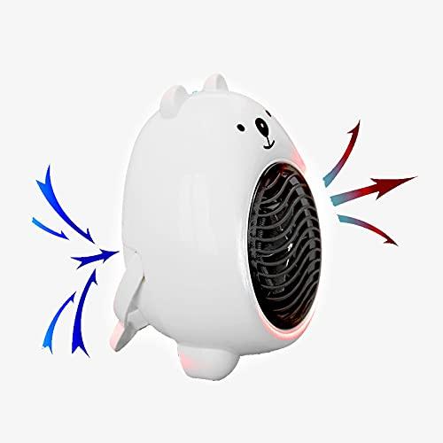 Bcofo Mini Portatile Stufetta,Termoventilatore,Riscaldamento rapido in 2 Secondi,Stile Cartone Animato,utilizzato in Ufficio,Camera da Letto,Soggiorno,Desktop,Mani Calde (Color : White)