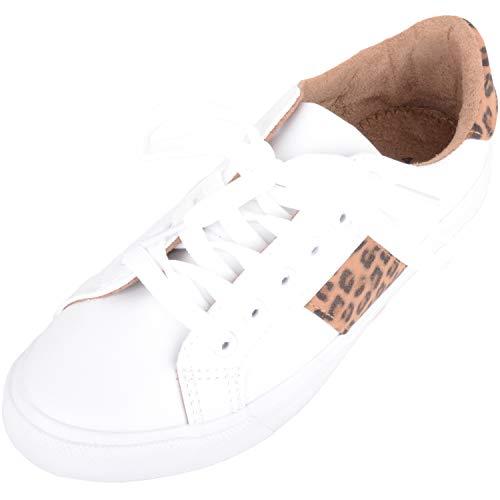 Zapatillas deportivas para mujer con cordones al aire libre con diseño de leopardo, color Blanco, talla 41 EU