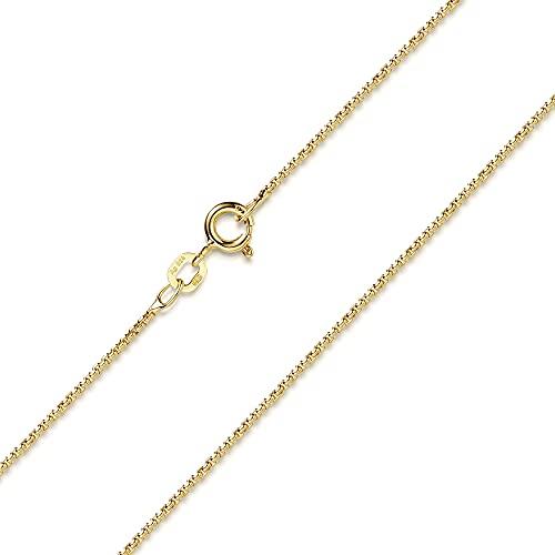 MATERIA Venezianerkette Gold Damen - Halskette 925 Silber vergoldet Goldkette 1,2mm für Frauen Mädchen in Box K100-55 cm