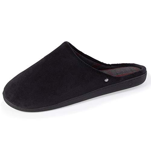 Isotoner - Zapatillas ergonómicas para hombre, Negro (Negro ), 41 EU