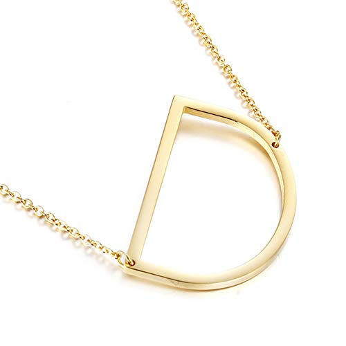 MOMOL Sideways Initial Necklace 18K Gold Plated Stainless Steel Large Big Letter D Pendant Necklace Script Name Monogram Necklaces for Women (D)