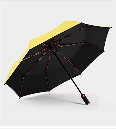 Flystpp Amarillo Ligero Automático Automático Paraguas Plegable Paraguas Automático Paraguas Tres-Pliegues Hombre y Femenino Sombrilla Sol y Lluvia Dual Uso (Color : Yellow)