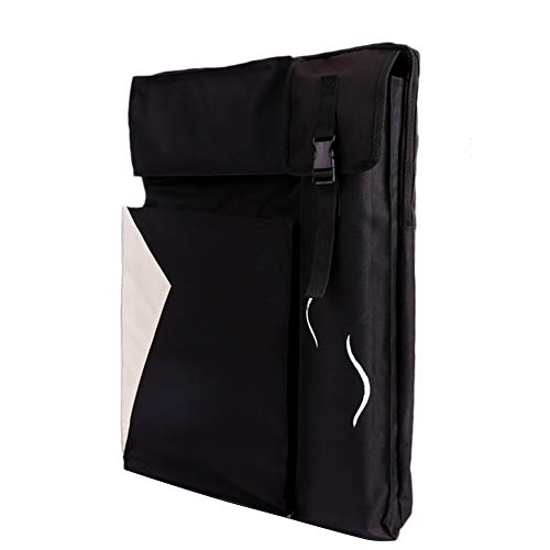 Staffelei Sitzstaffelei wasserdichte, schmutzabweisende Schultergurte Großes Kunstordnerfach Faltbarer Kunstrucksack HUYP (Color : Black, Size : Canvas Bag)