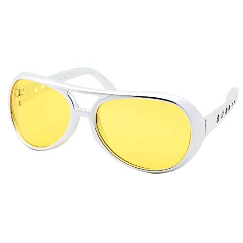 Gafas de sol de 50 y 60 Rock Star – Gafas estilo Elvis – Disfraz para hombre, Marco plateado, lente amarilla, Large