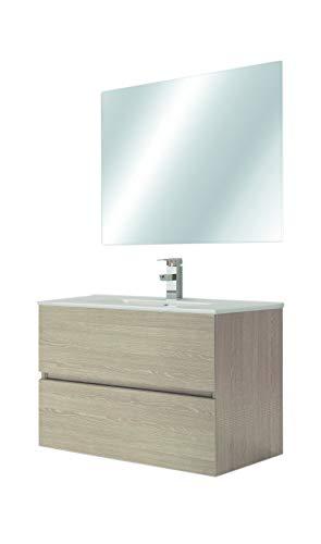 Juego de Mueble de Baño Modelo RIVIERA, Conjunto formado por Mueble de Baño Lacado en Cambrián, Medidas (80x45x60), Encimera y Espejo. Compacto no precisa montaje, Cajón con Freno y Cierre Amortiguado