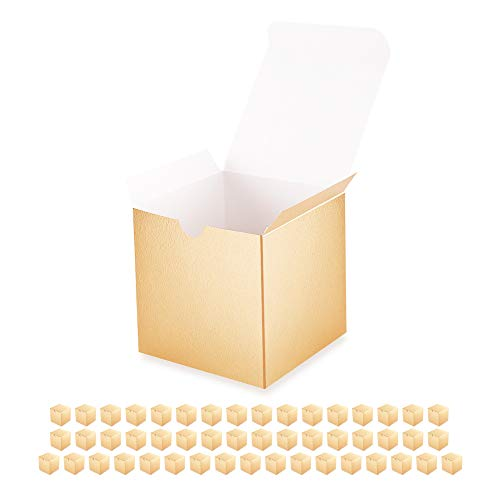BAKIPACK 50 Gift Boxes with Lids 4x4x4 Inches Small Paper Gift Boxes Gold Gift Boxes for Gifts Cupcake Boxes Gift Boxes Bulk Candle Boxes