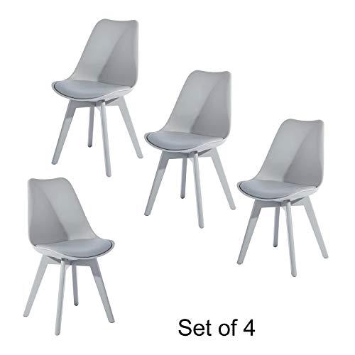 FurnitureR Juego de 4 sillas de Comedor Hermosas Silla de Sala Silla Eames con Asiento Acolchado y…