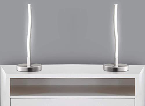 Trango 2er Pack Design LED Deko-Tischleuchte wellenförmige, Lichtleiste geschwungen Form TG2017-91/2 Tischlampe, Nachttischlampe, Lampe,