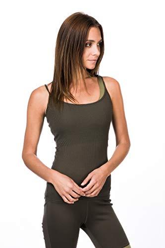 super.natural Damen Tank Top, Mit Merinowolle, W RIB TOP, Größe: L, Farbe: Khaki