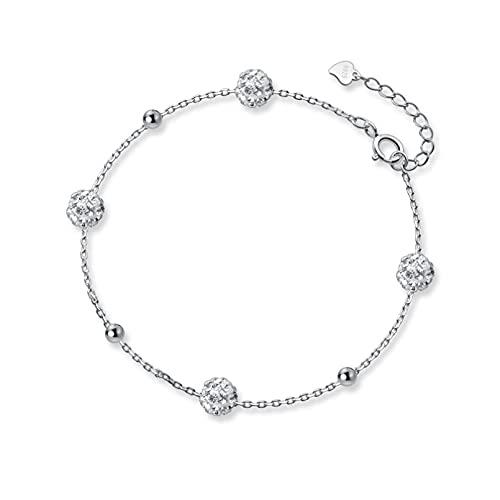 Pulsera de plata S925 Pulsera de bola de diamantes completa para mujer Perla ligera Joyería de mano de corazón de niña dulceAniversario Día de la boda Navidad Día de la madre Regalo de cumpleaños.