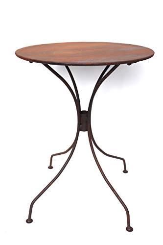 Hirsch Terracotta Tisch aus Metall Ø 55 cm stabil und massiv in Naturrost Rostoptik, Blumenhocker Beistelltisch Gartentisch rund in Rost