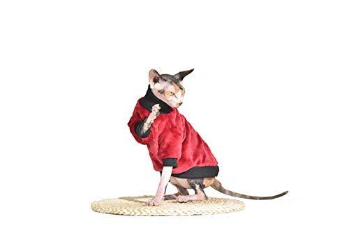 Khemn Designer Roter Warmer Katze Pullover mit Dicken Flanell Haarlose Katze (L)