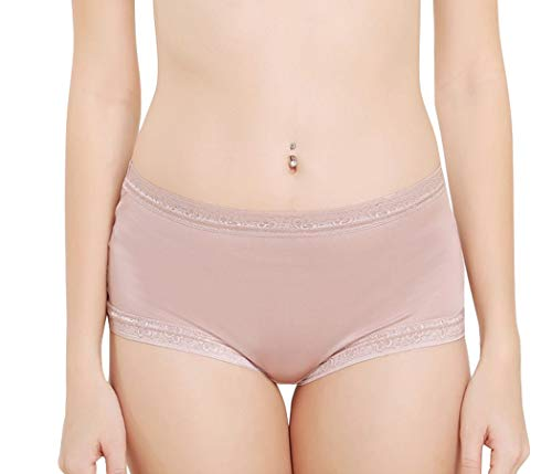 Women's Knickers,Underwear Lace Shorts,Mid-Rise G-String Briefs,100% Silk,5 Colors,真丝内裤 (Brown, M)
