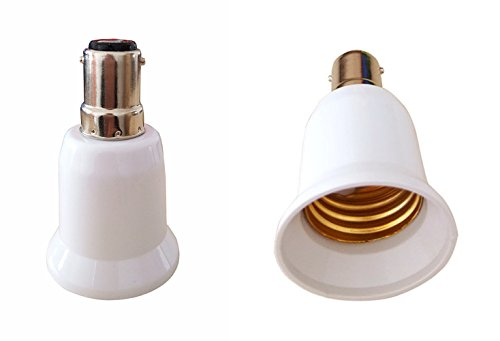 SFTlite 4x Lampensockel Adapter Konverter Bajonett B15 Fassung auf E27 Lampensockel für LED Birne - Energiespar Lampen - Halogen