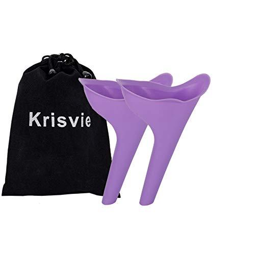 Krisvie 2Pcs Urinario Femenino, Dispositivo urinario portátil para orinar de pie la Mujer, Femenino, Pie Portátil Mujer Viajar Camping Senderismo Servicios Baños Públicos (Púrpura)