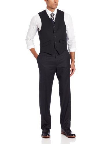 Haggar Men's Solid Suit Separate Vest,  Black, 42 R