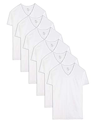 Fruit of the Loom Men's Stay-Tucked V-Neck T-Shirt, White (6 Pack) - Tall Sizes, X-Large Tall