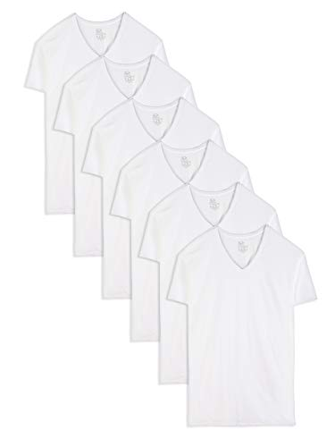 Fruit of the Loom Men's Stay-Tucked V-Neck T-Shirt, White (6 Pack) - Tall Sizes, Large Tall