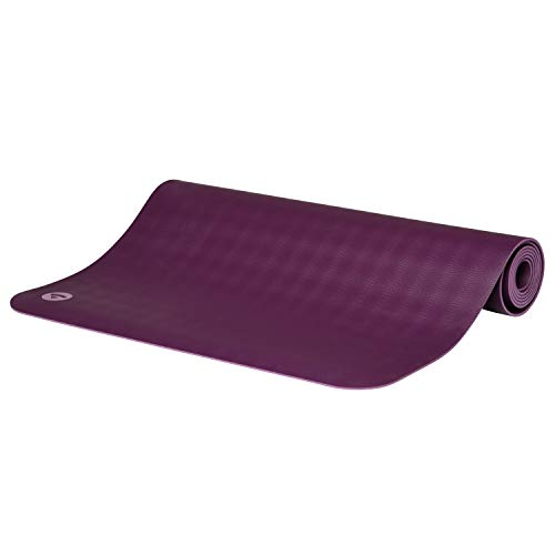 BODHI extrem rutschfeste Yogamatte ECOPRO aus 100% Natur-Kautschuk (185x60cm, 4mm stark, 1,6kg), schadstofffrei für Yoga, Pilates & Fitness, lila