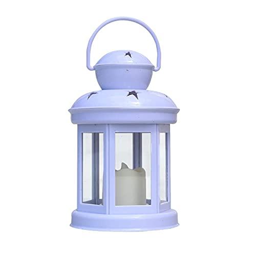 MKOIJN Decoraciones Farol de vela con LED sin llama, temporizador de vela LED de plástico y soporte para interiores y exteriores (blanco, 1 unidad)