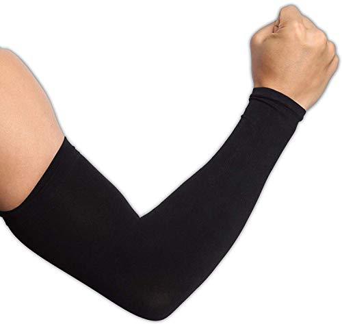 Ksnnrsng Mangas del Brazo Mangas Enfriamiento de Protección UV Largo Mangas de Sol para Deportes Ciclismo Baloncesto Corriendo Golf para Mujer Hombre (2 Pares de Negro)