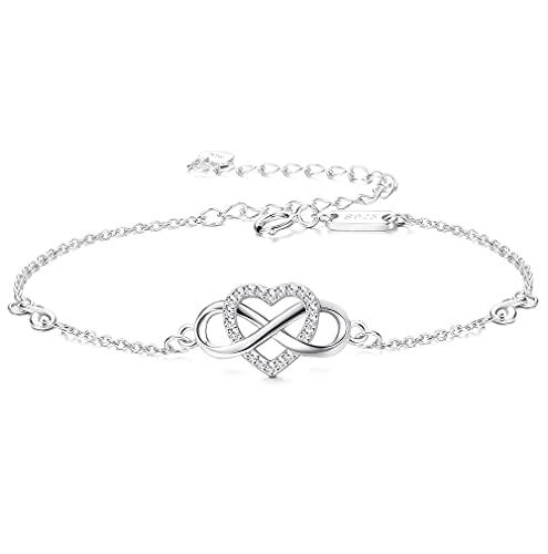 PATISORNA Pulsera de plata de ley 925 con forma de corazón infinita, símbolo de amor sin fin y circonita ajustable, para el día de la madre