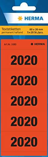 HERMA 1680 Jahreszahlen Aufkleber 2020 für Ordner (60 x 26 mm, Papier, matt, blickdicht) selbstklebend, permanent haftende Textetiketten, 100 Etiketten, rot