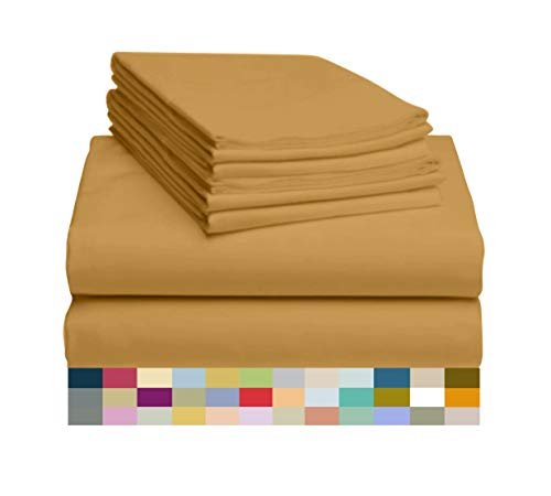 LuxClub 6 PC Bamboo Sheet Set w/ 18 inch Deep Pockets - Eco Friendly, Wrinkle Free, Hypoallergentic, Antibacterial, Fade Resistant, Silky, Stronger & Softer Than Cotton - Medallion Gold King