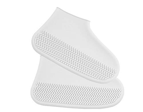 KDRose Rain Shoe Covers, Reusable Silicone Shoe Covers Waterproof Foldable Slip Cycling Outdoor Shoe Covers for Kids,Women,Men(White,L)
