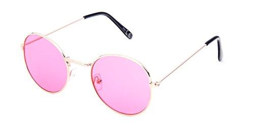 CHICNET Gafas de sol redondas de color dorado y plateado, 400 UV tintadas, para hombre y mujer, estilo hippie retro, vintage rosa