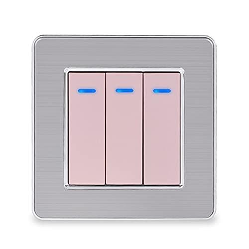 Panel de acero inoxidable 3 GAND 1 forma de interruptor de encendido / apagado del interruptor de pared con indicador LED 16A Color de oro negro Fácil instalación ( Color : Gold , Voltage : 220V )