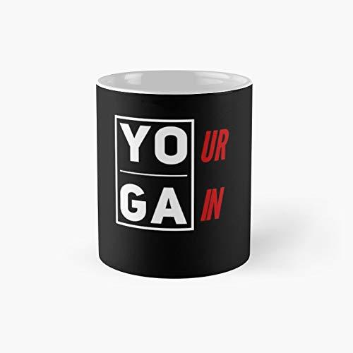 Taza clásica con diseño de chaqueta y camisetas de yoga | El mejor regalo divertidas tazas de café de 11 onzas