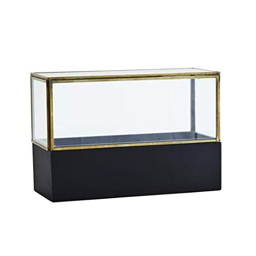 Madam Stoltz decoratieve glazen kast met houten sokkel in zwart, afmetingen: L: 26cm x B: 11cm x H: 17 cm