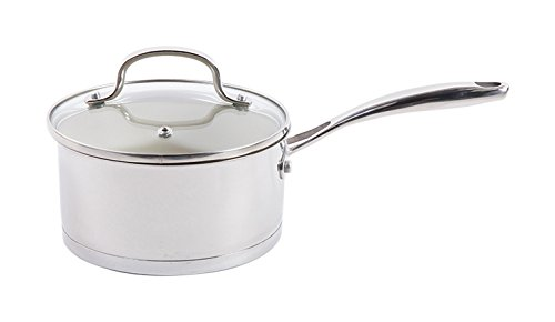 Gibson Cuisine Gleaming Sauté Pan with Lid Ceramic Nonstick Interior, 9.5', Stainless Steel