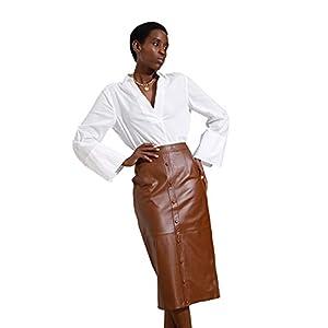 Women's Leather Skirt Midi Pencil Skirt with Slit SmartUniverseWear 14