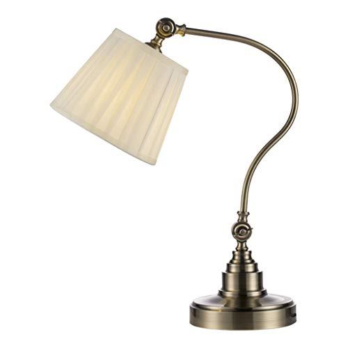 Lampe de bureau Bureau Lampes De Table Salon Décor Américain Rustique Chambre Lumière De Chevet Lumière Tissu Ombre En Métal Rétro Décoration