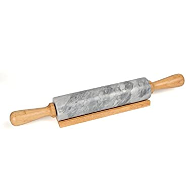Creative Home 18  L Deluxe Natural Gray Marble Stone Rolling Pin with Wood Handles & Cradle