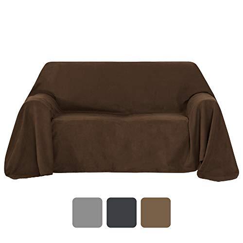 Umi.Essentials Sofa Überwurf Wildleder Optik Bettüberwurf Couchbezug 210x280 cm Dunkelbraun