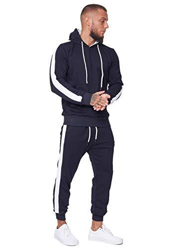 Code47 Herren Jogginganzug Trainingsanzug Männer Sportanzug Fitness Outfit Streetwear Tracksuit Jogginghose Hoodie-Sporthose Sportkleidung Comfort Fit Modell JG-1571C Navy Weiß XL