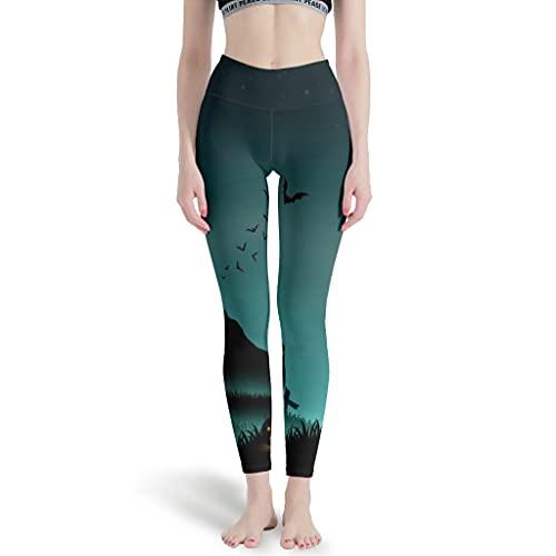 Magiböes Leggings informales para mujer, para yoga, Halloween, estrellas nocturnas, luna, castillo de calabaza, tiempo libre, pantalones blancos, talla grande