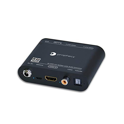 gofanco Prophecy 4K 60Hz HDR 1x2 HDMI 2.0 Splitter - YUV 4:4:4, HDMI Audio Extraction to Toslink & RCA, HDR, HDMI 2.0a, HDCP 2.2, 18Gbps, Auto Scaling, EDID Management, Firmware aufrüstbar