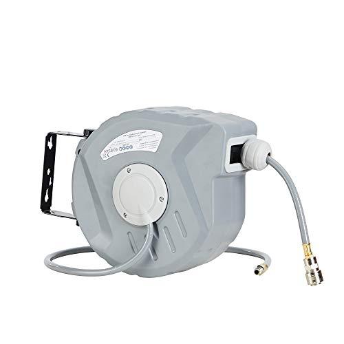AREBOS Druckluftschlauch Aufroller Automatik Schlauch Aufroller | 10m | Wandhalterung | 1/4 Zoll Schnellkupplung | UV-beständig | 180° Schwenkbar | inkl Montagehalter