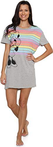 Disney Minnie Mouse Women's Sleep Tee Dorm Nightgown Lounge Pajamas, Small Grey