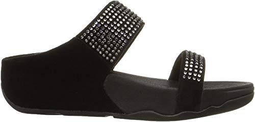 Fitflop Flare Slide, Damen Sandalen, Schwarz (Black 001), 39 EU (6 UK)