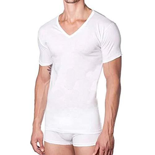 Liabel, 3 Maglie Uomo a Manica Corta e Scollo a V in Puro Cotone 100% Supima, Modello Aria Colore Bianco. Taglia 52/XL